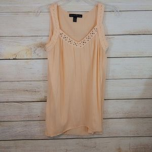 Peachy Crinkly Tank Top Size Medium Bust 38in